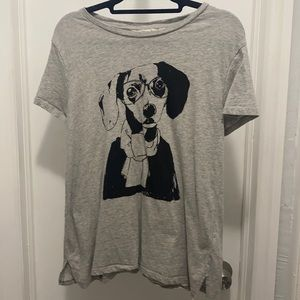 H&M Dog in scarf & Glasses Gray T-shirt Top XS